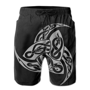 Warrior Symbol Odin's Triple Horn Viking Symbol Mens Fashion Casual Beach Shorts