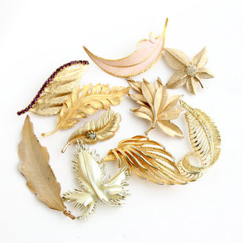 Vintage Leaf Brooch Lot - 10 Large Gold Tone Costume Jewelry Pins / Signed Trifari, Coro, Giovanni