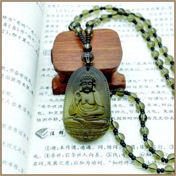 Yumten Buddha Pendant Necklace Smoky Quartz Crystal Pendant Necklaces For Women Men Figure Classic Party smoky quartz Jewelry