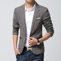 British's Style New Brand Blazer Men Linen Casual Suits Mens Blazers Slim Fit Regular Single Breasted Men Flax Suits Jacket 4XL
