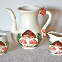 Vintage Mushroom Pitcher Sugar and Creamer Set by CollectiveHeart
