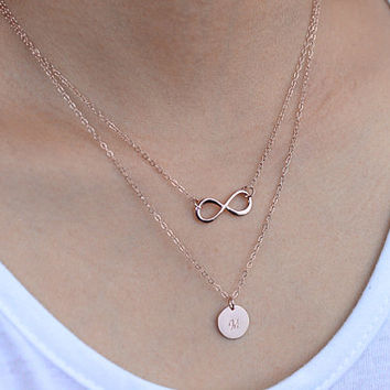 Double Layered Necklace. rose gold initial necklace. one personalized disc  infinity necklace. mother, sister, friendship, couple necklace.