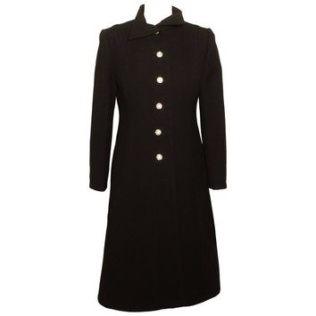 Vintage Pauline Trigere Black Evening Coat with Rhinestone Buttons