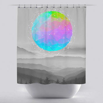 Unique Shower Curtain - Worlds that Never Were by Soaring Anchor Designs