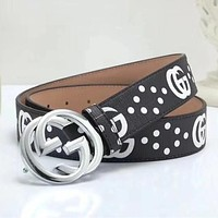 GUCCI Woman Men Fashion Smooth Buckle Belt Leather Belt { 9 colors }