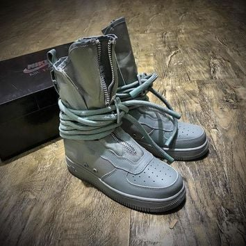 DCCKU62 Sale Newest Nike SF Air Force 1 High AF1 Beige Functional Boots Diatom Blue AA1128-203