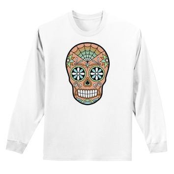 Version 6 Copper Patina Day of the Dead Calavera Adult Long Sleeve Shirt