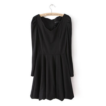 Slim Shaped Long Sleeve One Piece Dress [4917787012]