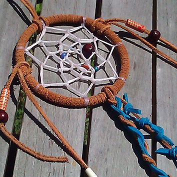Hand Made Native American Dream Catcher with Wooden, Glass, and Pipe Bone Beads and Fabric Fringe Fall