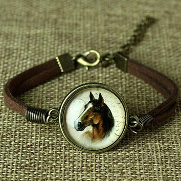 Glass Galaxy Bracelets Leather Bracelet Animal Horse Cat Deer Bracelet Fashion Jewelry For Women Cute Jewellery Bijoux
