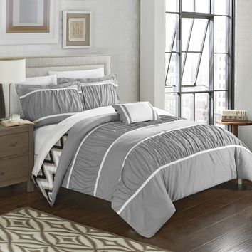 Chic Home 4-Piece Brooks Pleated & Ruffled with Chevron REVERSIBLE Backing Full/Queen Comforter Set Grey Shams and Decorative Pillows included Gray