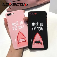 "LOVECOM Phone Case For iPhone 6 6S 7 7 Plus Cartoon Shark Image ""NICE TO EAT YOU"" Letter Print Hard PC Phone Back Cover Cases"