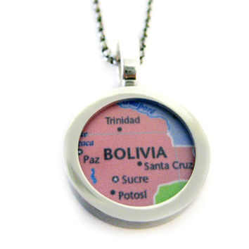 Bolivia Map Pendant Necklace