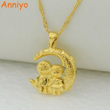 Anniyo loving couple sitting on the moon pendant necklaces women gold color jewelry wife/Girl friend/Fiancee surprise #201402