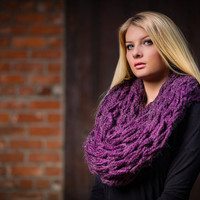 Infinity scarf, plum purple knitted chunky scarf, hand knitted scarf, loop scarf, warm plum knitted scarves, thick winter scarf