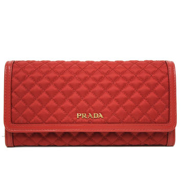 Prada Tessuto Quilted Nylon Continental Flap Wallet 1M1132 Rosso Red