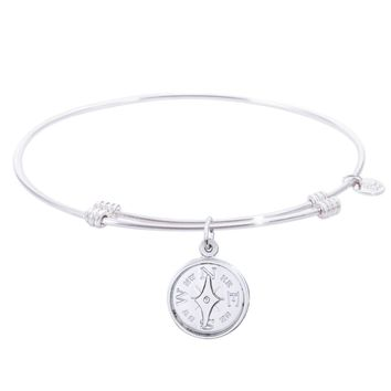 Sterling Silver Tranquil Bangle Bracelet With Compass Charm