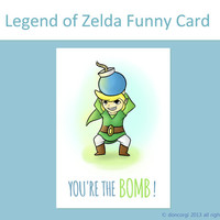 "Legend of Zelda Funny Card - ""You're the Bomb!"" Greeting Cards, Funny Card, Gaming Inspired"