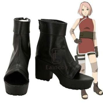 LMFIW1 Anime Naruto The Last Haruno Sakura Cosplay Party Shoes Black Peep Toe Boots Customize