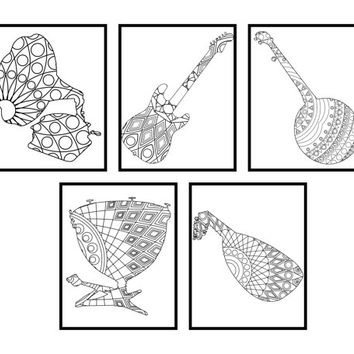 Music instruments coloring pages - Adult coloring book Adult coloring pages Music art Music print Gift for music lover Music instruments