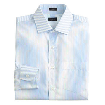 J.Crew Mens Crosby Shirt In End-On-End Oasis Blue Stripe