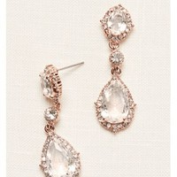 Filigree and Crystal Drop Earrings - Davids Bridal