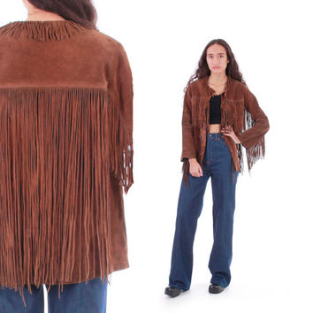 1970s Fringe Suede Jacket Brown Boho Hippe Authentic Vintage Leather Outerwear Womens Size Small