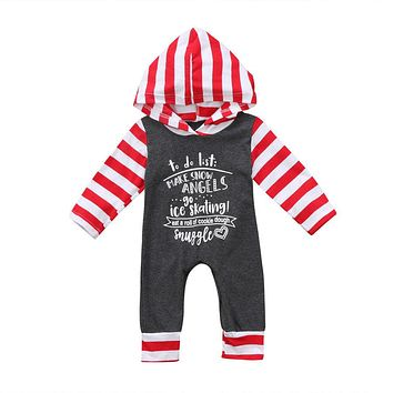 Christmas Baby Girls Boys Striped Hooded Clothing Long Sleeve Hoodies Romper Outfits Clothes US Stock