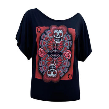 Queen of Hearts Womens Oversized Scoopneck by Artist Gabe Londis