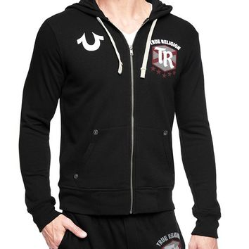True Religion Hand Picked True Footballer Mens Hoodie - Black