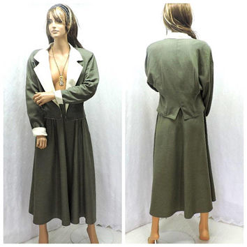 Raw silk reversible skirt suit / XS S size 3 / 5 / vintage 80s skirt suit / olive green dress suit / long silk skirt and blazer
