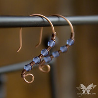 Petite Copper Earrings w/Cornflower Blue Crystals from A Single Dream