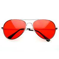 Retro Metal Aviator Color Tinted Lens Aviator Sunglasses 8405 59mm