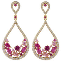 Gold Plated Sterling Silver Open Teardrop Earrings With White CZ & Synthetic Ruby