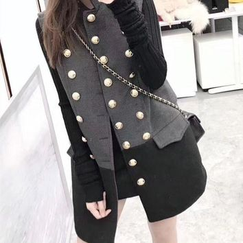 LMFON Dior' Women Temperament Fashion Multicolor Sleeveless Double Row Buttons Cardigan Middle Long Section Wool Vest Jacket Coat