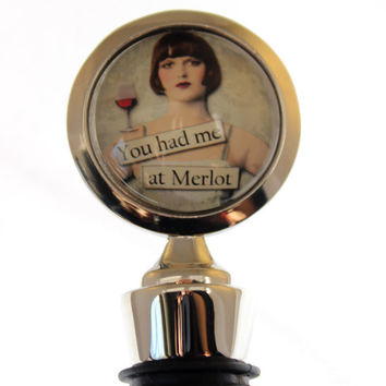 You Had me at Merlot Retro Illustrated Wine Bottle Stopper