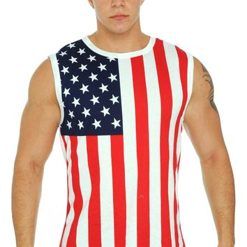Men's USA Flag Sleeveless Shirt American Pride