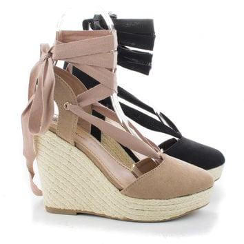 Dora04 Almond Toe Ankle Wrap Pltaform Jute Rope High Wedge