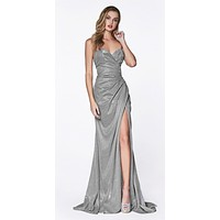 Strapless Ruched Glitter Sparkle Dress Light Silver Sweetheart Neckline Leg Slit