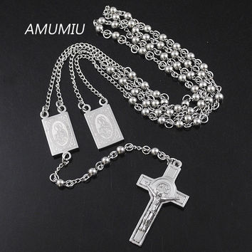 AMUMIU 4mm*66cm Silver Color Men Rosary Beads Necklace Stainless steel Catholic Religion of Jesus,Women Cross Jewelry HN079