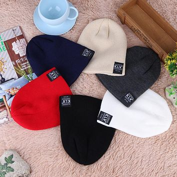 Baby Caps Hat Fashion Children Pure Color Pinstripe Short Skiing Hat Autumn Winter Kids Warm Woolen Hat Elastic Knitted Cap