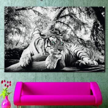 Tiger, black and white, tiger canvas, striped tiger, tiger turquoise eyes, tiger resting art, tiger in the forest, big cat canvas art
