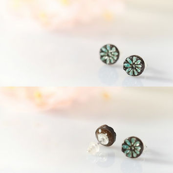 "Tiny flower earrings Mini studs 8mm 0.3"" Ceramic stud earring sterling silver post Turquoise flowers Tiny flowers turquoise and brown studs"