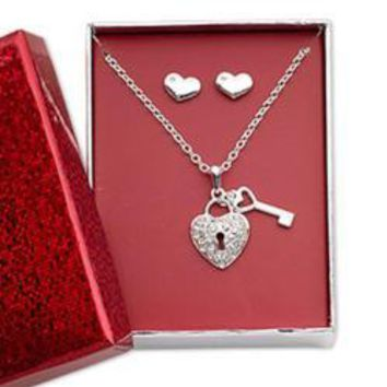 Pewter Hearts Earring & Heart Lock/Key Necklace
