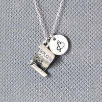 Antique Silver Plated Pewter Diploma Necklace. Personalized Initial Necklace. friendship jewelry.Sterling Silvr Necklace. No.174