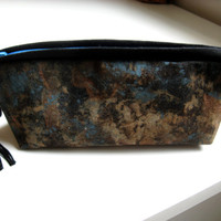Black and Brown Gadget Bag Earthy Zipper Pouch Brown and Aqua Copper Cosmetics or Wallet