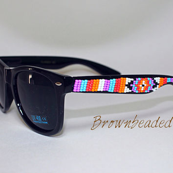 Hand Beaded Sunglasses Native American Tribal by brownbeadednet