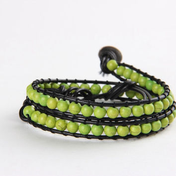 Electric Green Turquoise Beads Wrap Bracelet