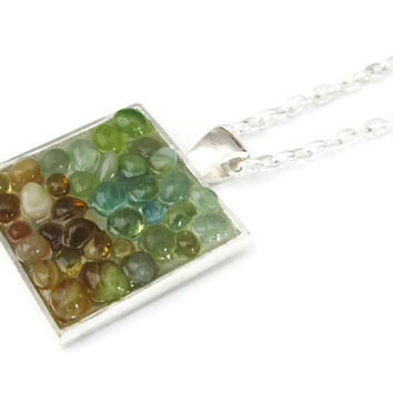 Square Pendant necklace with tiny stone and glass pebbles in shades of green and amber, hand made modern mosaic jewelry two tone jewelry