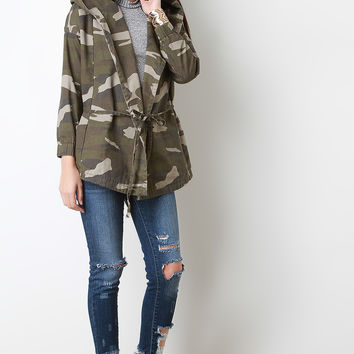 Twill Hooded Camo Drawstring Jacket